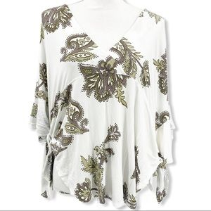 NWT Free People Ivory Combo Boho Tunic Side Ties